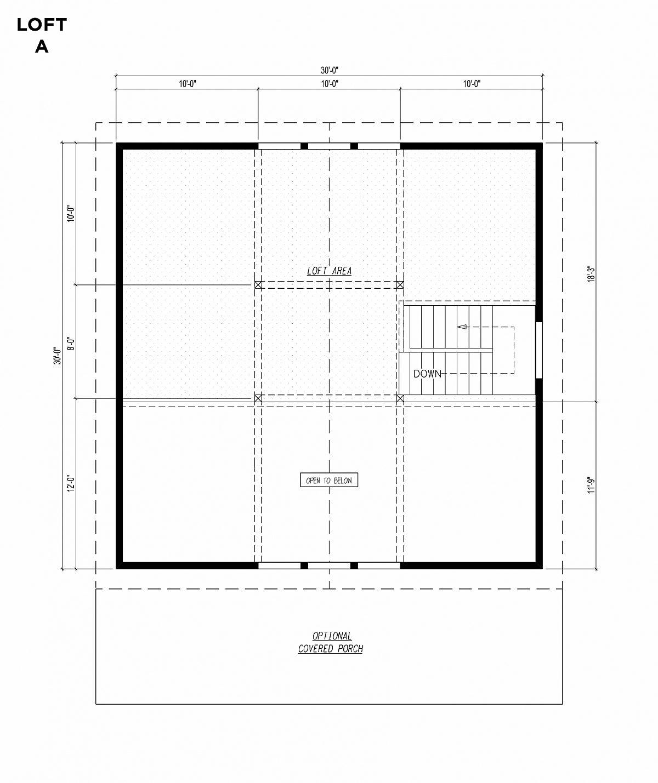 Timberlyne Blue Jay Cabin 30x30 Floor Plan Loft A