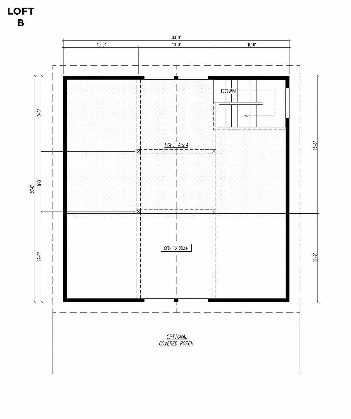 Timberlyne Blue Jay Cabin 30x30 Floor Plan Loft B