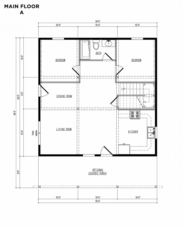 Timberlyne Blue Jay Cabin 30x30 Floor Plan Main A