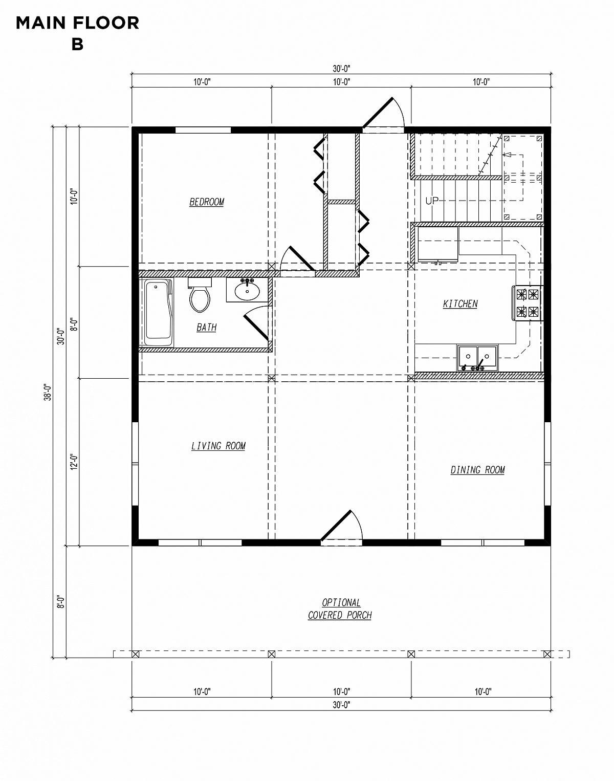 Timberlyne Blue Jay Cabin 30x30 Floor Plan Main B