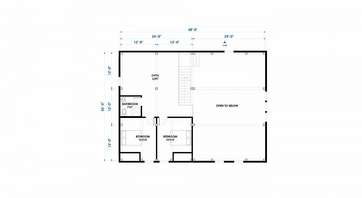 Timberlyne Cooper 36x48 2592 Combination Floor Plan Loft