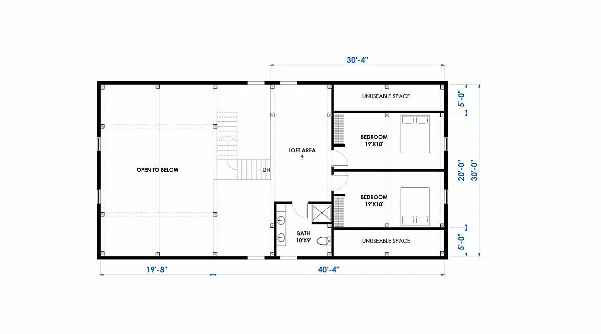 Timberlyne Huxley 30x60 2845 SF Ponderosa Home Floor Plan Loft