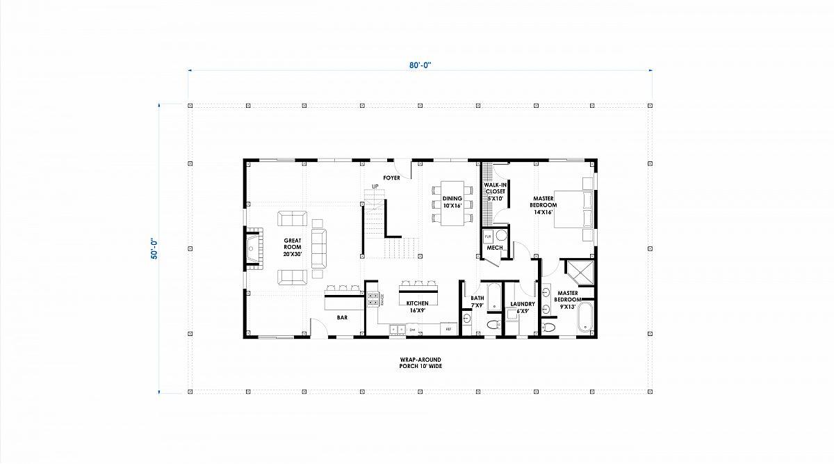 Timberlyne Huxley 30x60 2845 SF Ponderosa Home Floor Plan Main