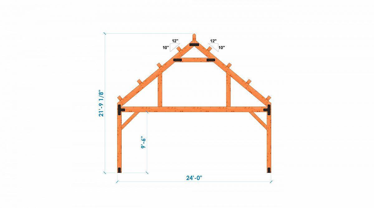 Timberlyne Castner 24x90 Combination Barn Home Bent 1