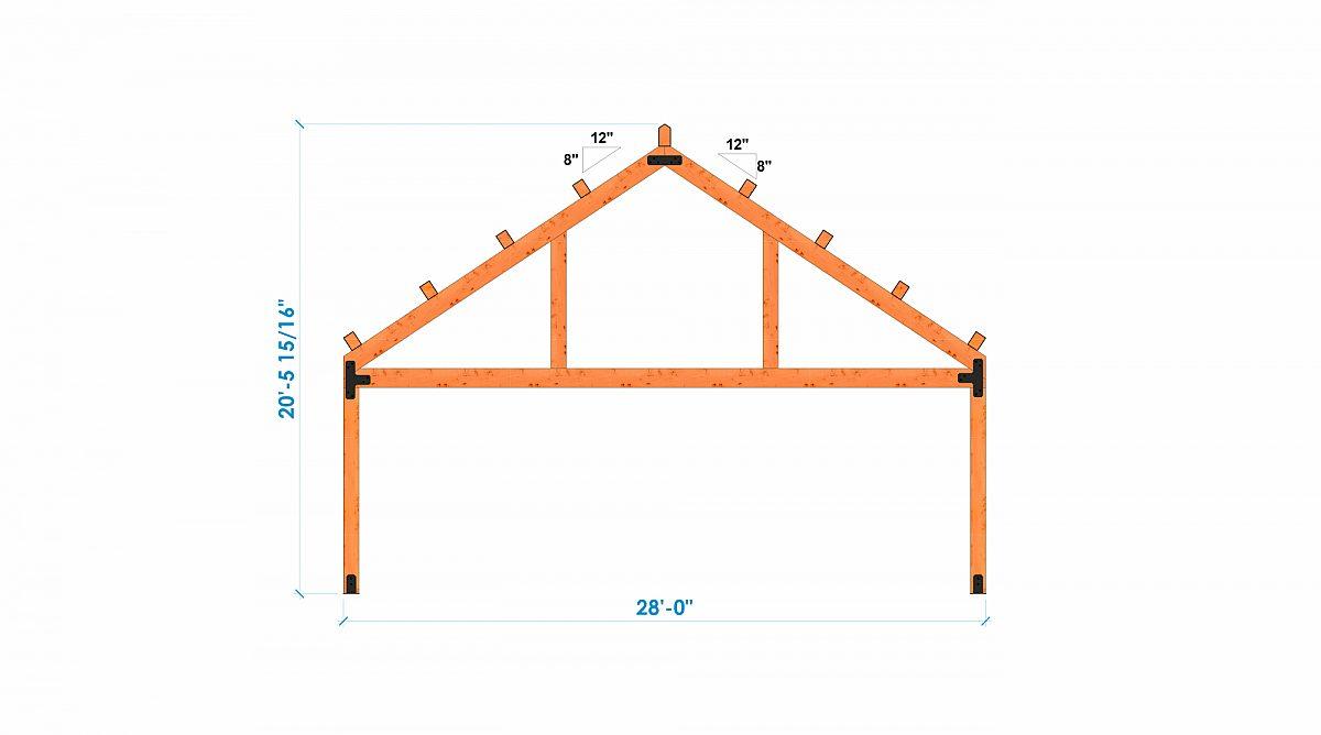 Timberlyne Castner 24x90 Combination Barn Home Bent 3