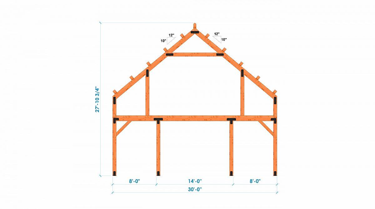 Timberlyne Castner 24x90 Combination Barn Home Bent 4