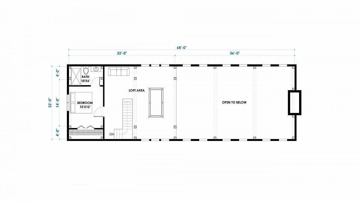 Timberlyne Witherspoon 46x68 3080 SF Western Floor Plan Loft