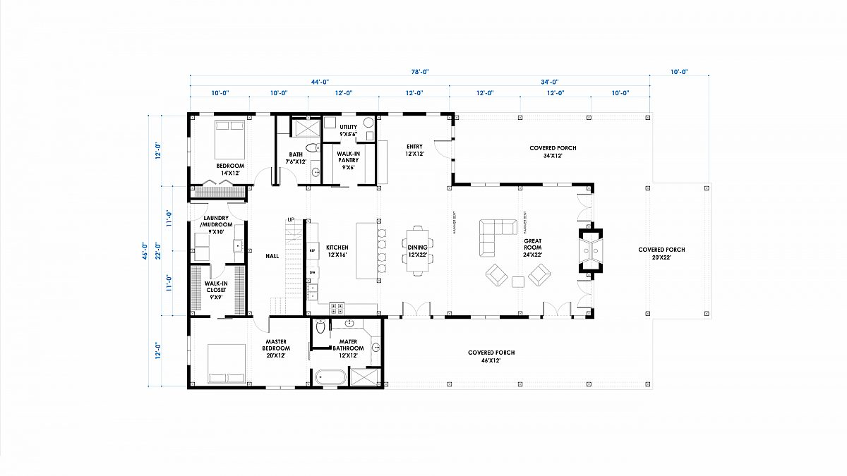 Timberlyne Witherspoon 46x68 3080 SF Western Floor Plan Main