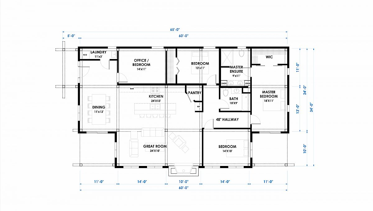 Timberlyne Rushmore 34x60 1820 SF Single Slope Home Floor Plan Main