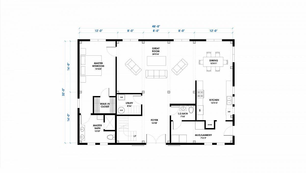 Huntington 32x48 Ponderosa Home Floor Plan Main