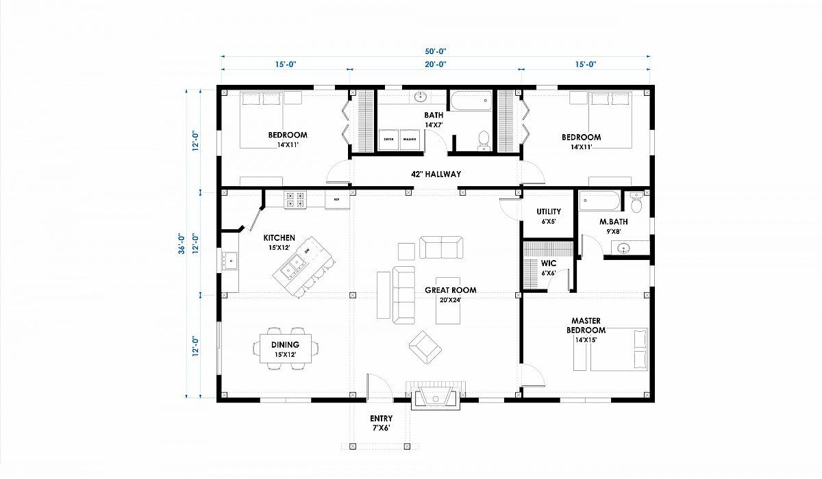 Timberlyne Hubbard 50x36 1800 SF Ponderosa Home Floor Plan Main