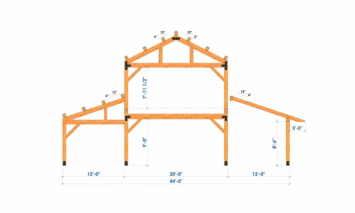 Timberlyne Calabasas 36 x44 1920 SF Combination Bent 2