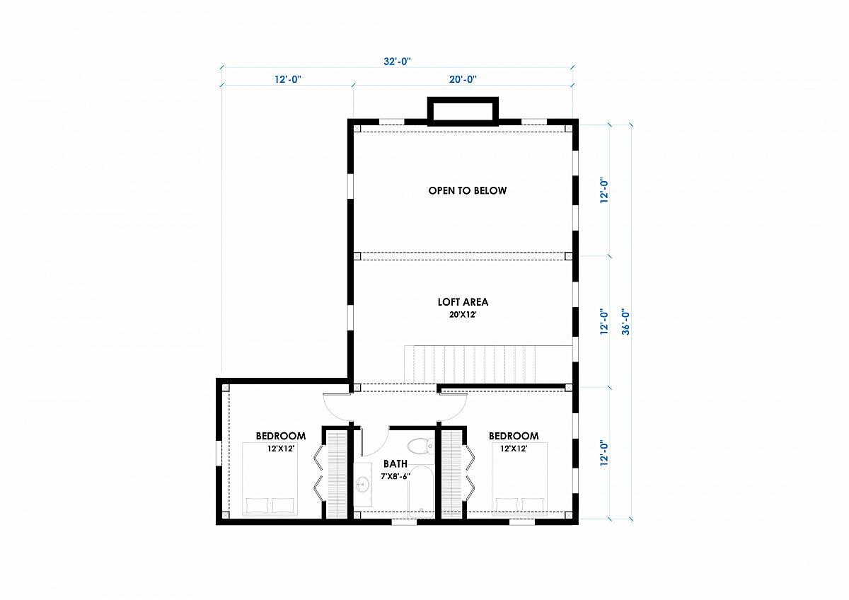 Timberlyne Calabasas 36 x44 1920 SF Combination Floor Plan Loft
