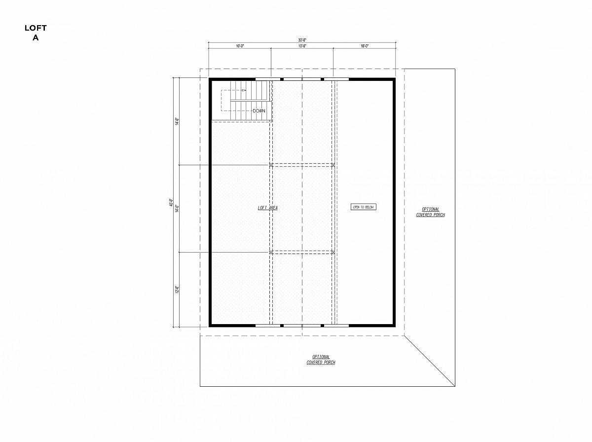 Timberlyne Osprey Cabin 30x40 Floor Plan Loft A