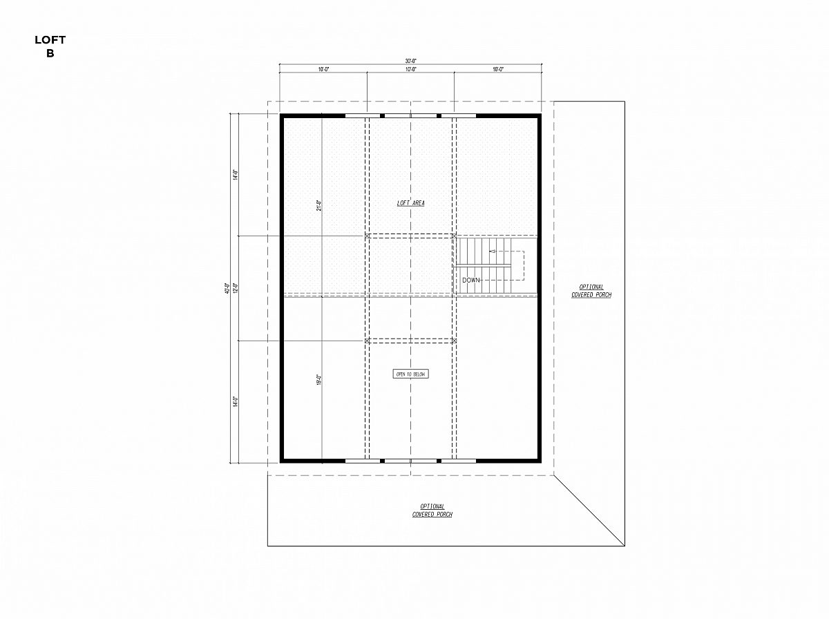 Timberlyne Osprey Cabin 30x40 Floor Plan Loft B