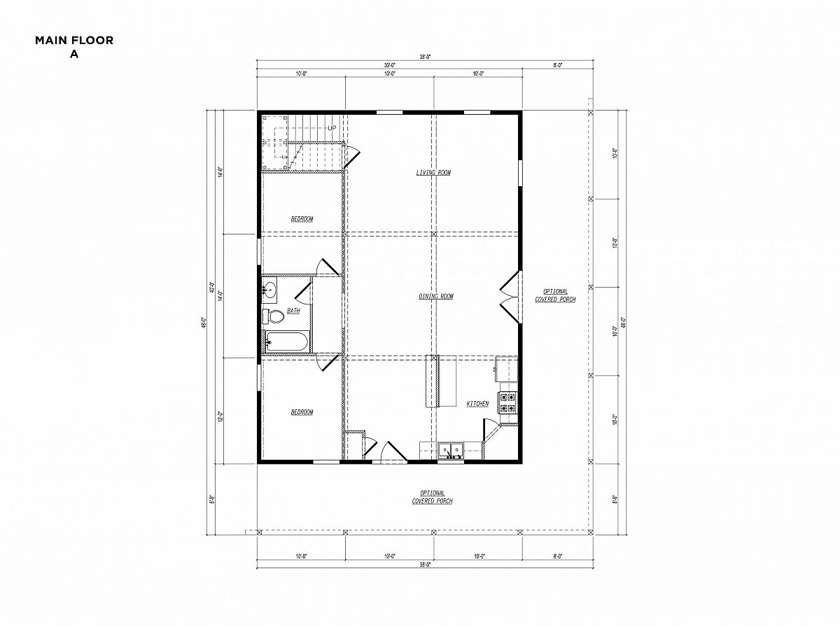 Timberlyne Osprey Cabin 30x40 Floor Plan Main A
