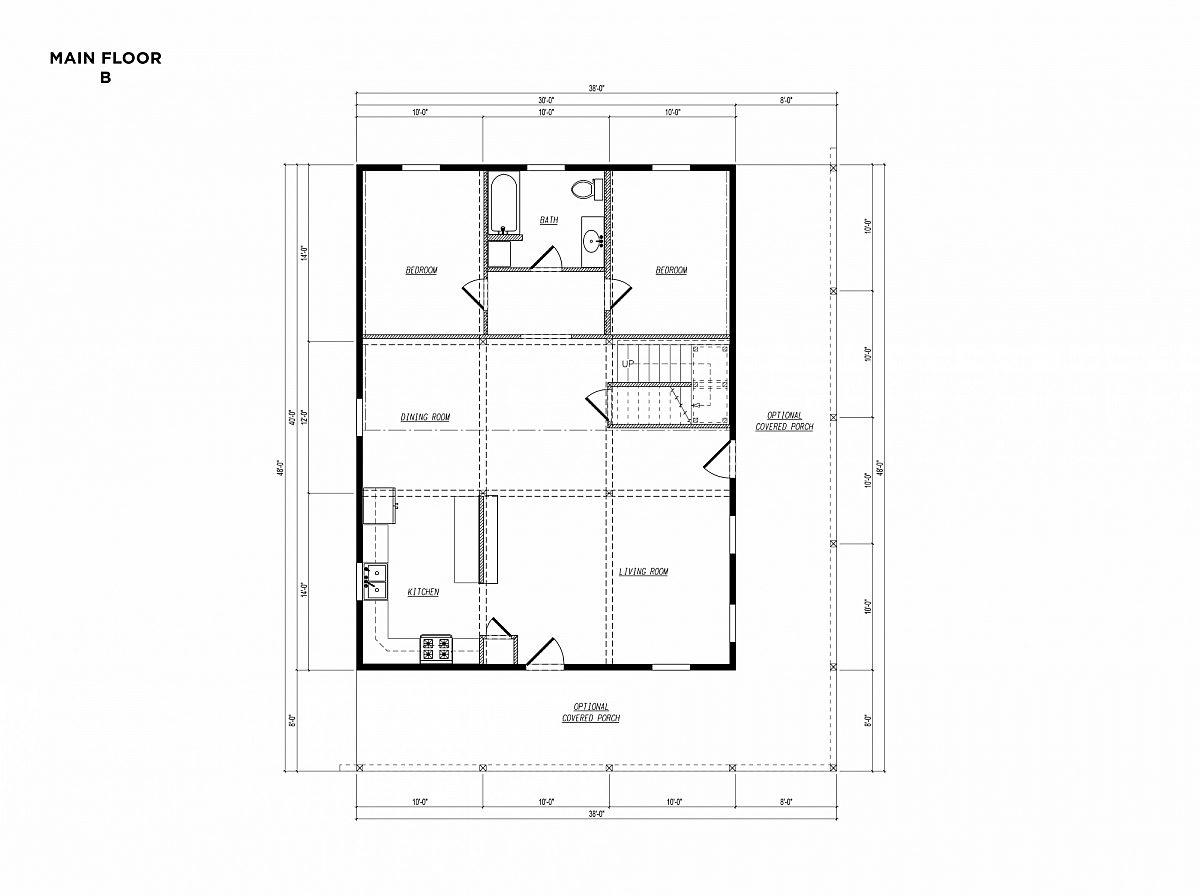 Timberlyne Osprey Cabin 30x40 Floor Plan Main B