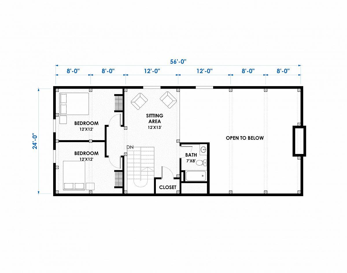 Timberlyne Alpine 24 x56 2664 SF Combination Home Floor Plan Loft