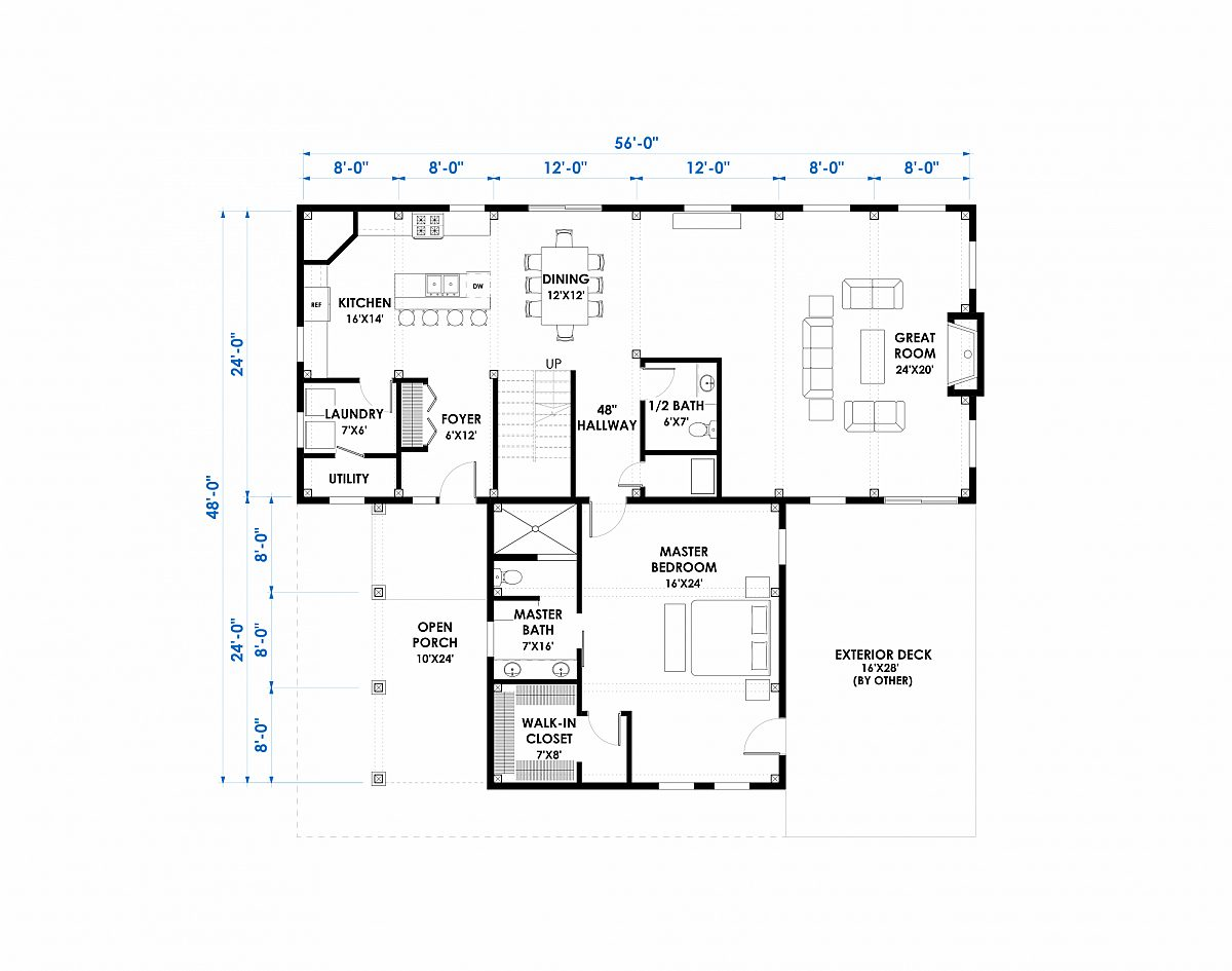 Timberlyne Alpine 24 x56 2664 SF Combination Home Floor Plan Main