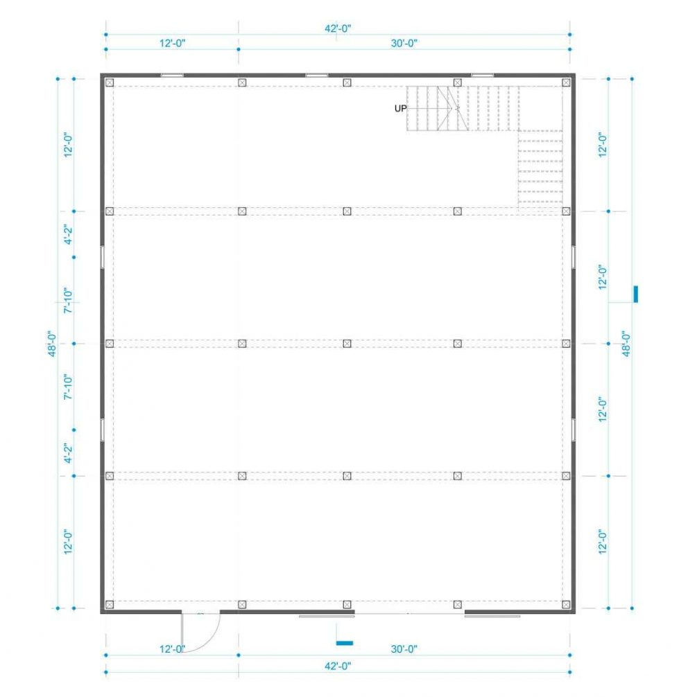 Barn package timber frame post layout 42x48 great plains gambrel barn