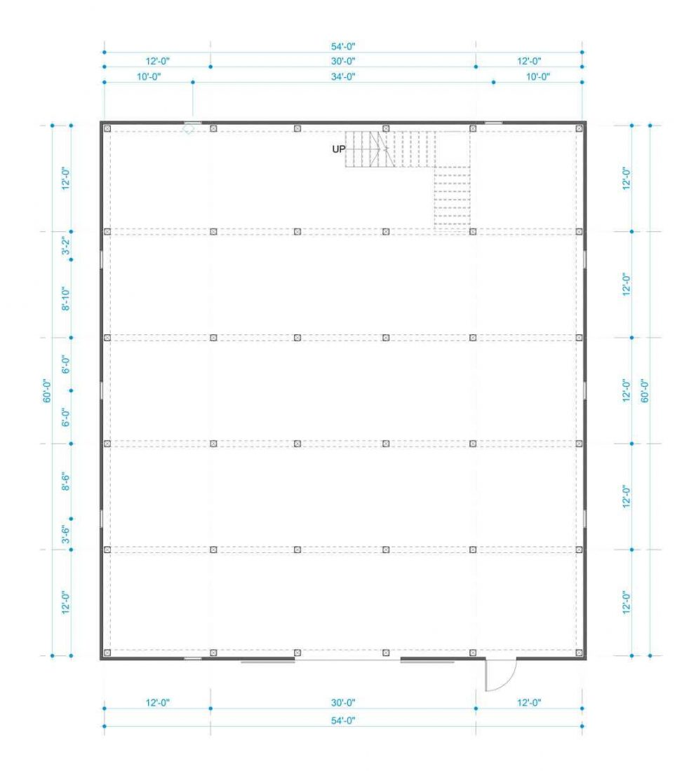Barn package timber frame post layout 54x60 great plains gambrel barn