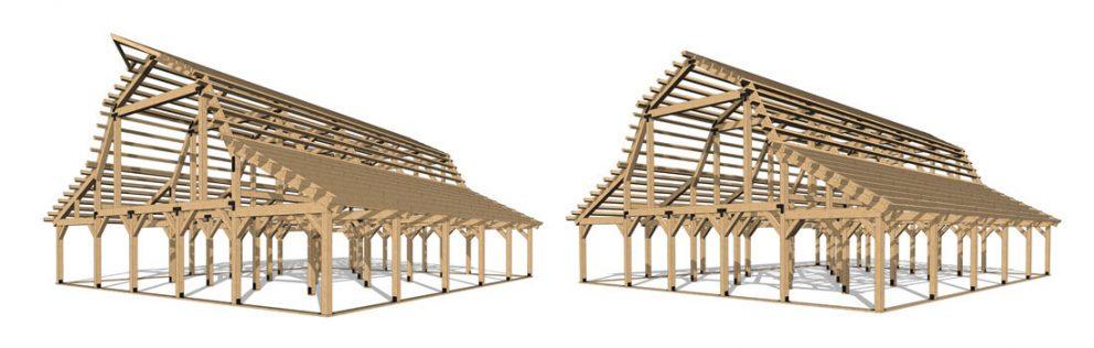Barn package timber fullframes 54x60 great plains gambrel barn