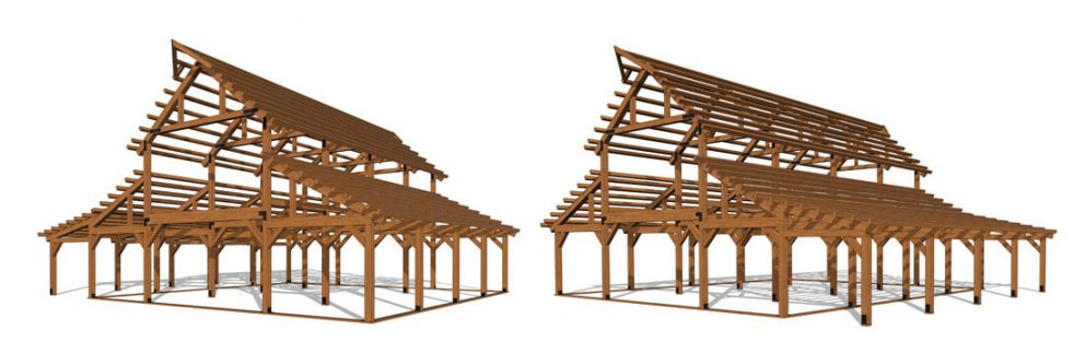 Barn package timber frame fullframes 44x48 great plains western horse barn