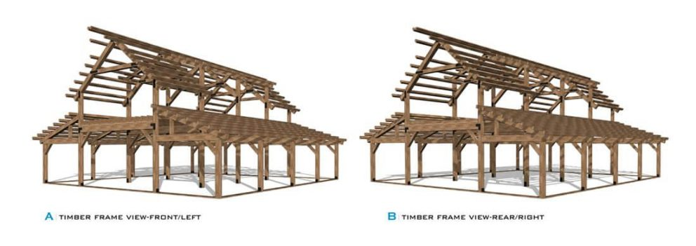 Barn package timber frame front and rear view 44x48 great plains western horse barn