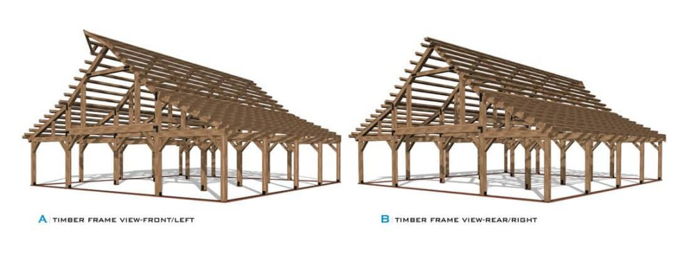 Barn package timber frame front and rear view 48x48 ponderosa country barn