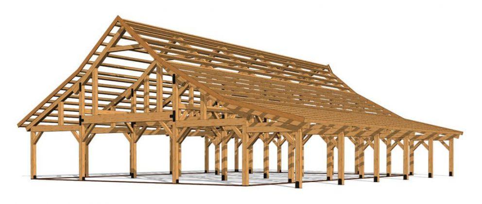 Barn package timber frame full frame 2 44x60 ponderosa country barn