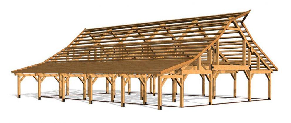 Barn package timber frame full frame 44x60 ponderosa country barn
