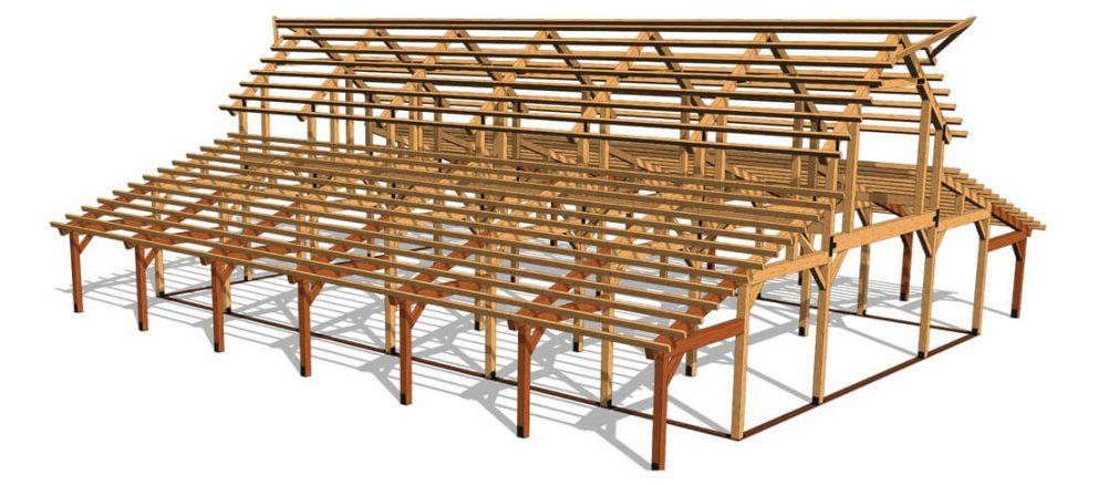 Barn package timber frame fullframe 2 44x72 great plains western horse barn