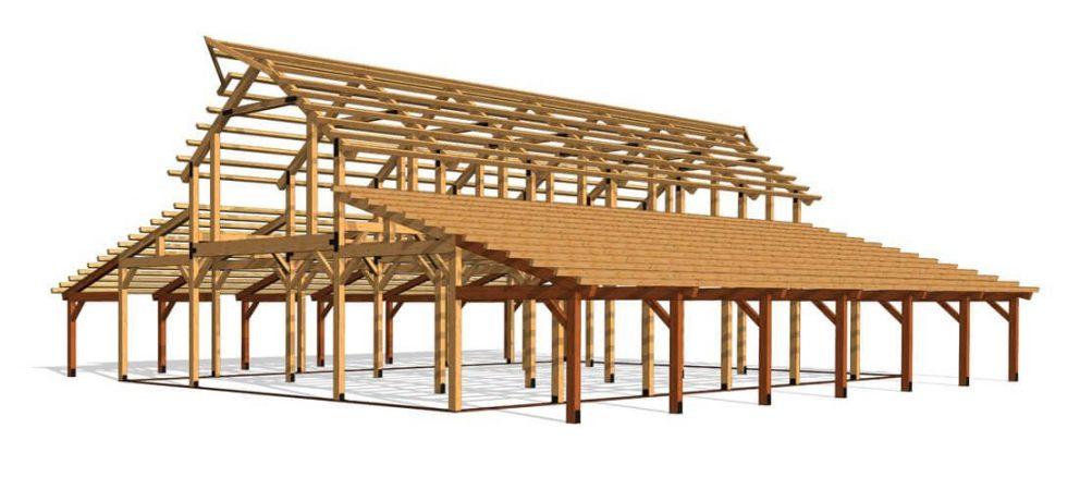 Barn package timber frame fullframe 44x72 great plains western horse barn
