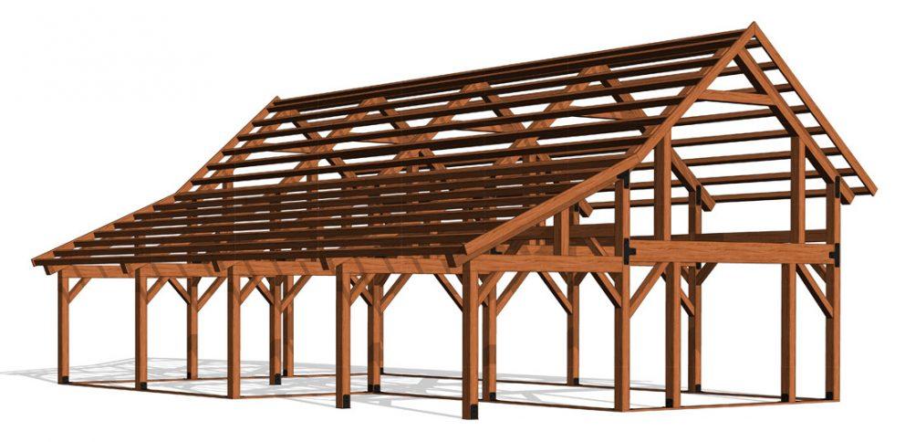 Barn package timber frame frame design 32x48 ponderosa country barn