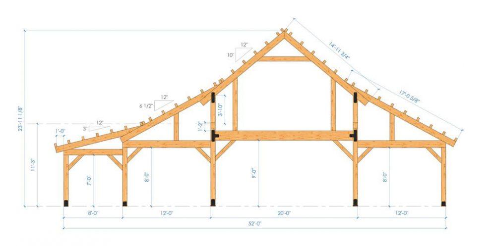 Barn package timber frame bent design 44x60 ponderosa country barn