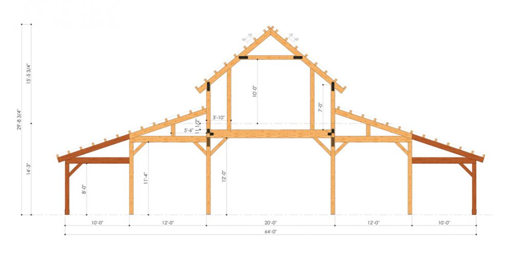 Barn package timber frame bent design 44x72 great plains western horse barn