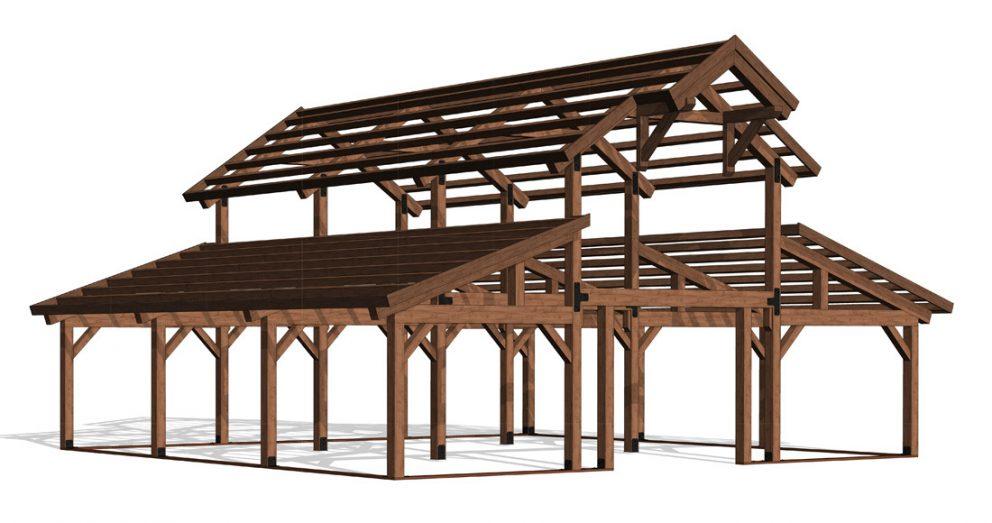 Barn package timber frame frame 40x36 great plains western horse barn