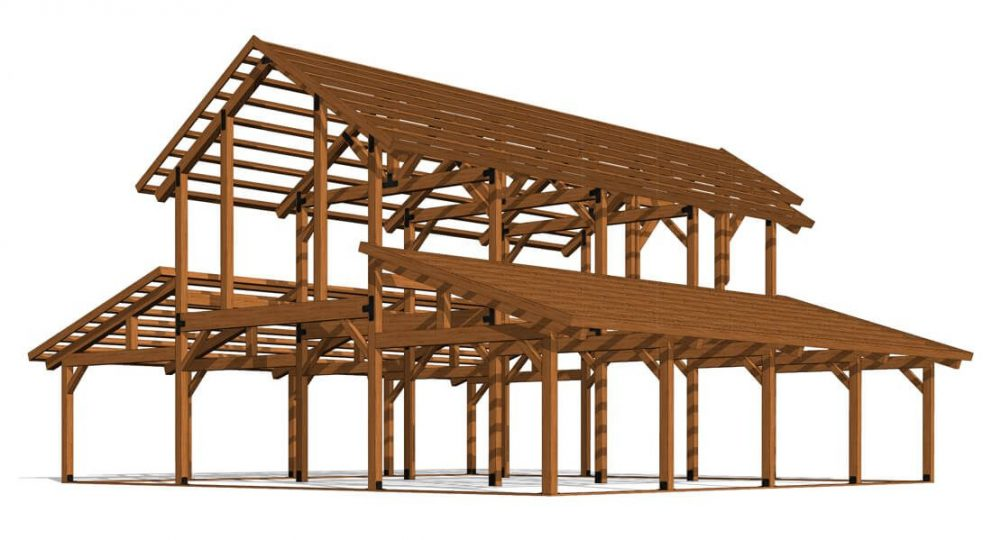 Barn package timber frame 2 48x48 great plains western horse barn