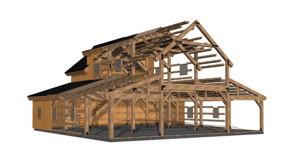 Barn package timber frame 3 D rendering 44x48 interior great plains western horse barn