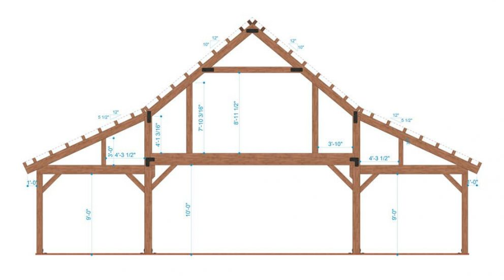 Barn package timber frame bent design 48x48 ponderosa country barn