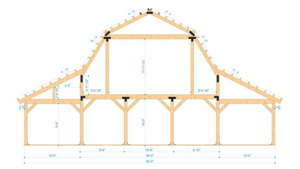 Barn package timber frame bent design 54x60 great plains gambrel barn