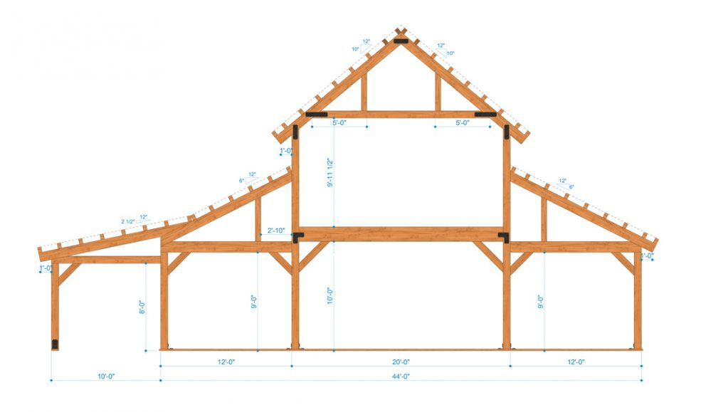 Barn package timber frame bent design 44x48 great plains western horse barn