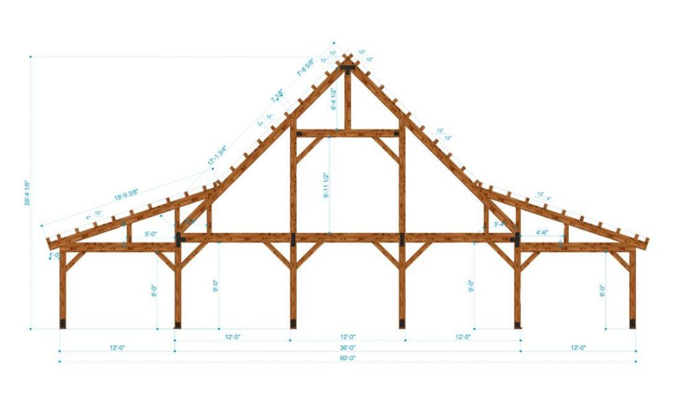 Barn package timber bent design 36x48 great plains eastern horse barn