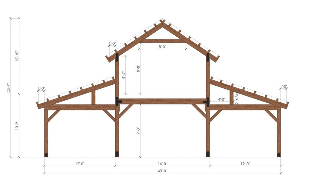 Barn package timber frame bent 40x36 great plains western horse barn