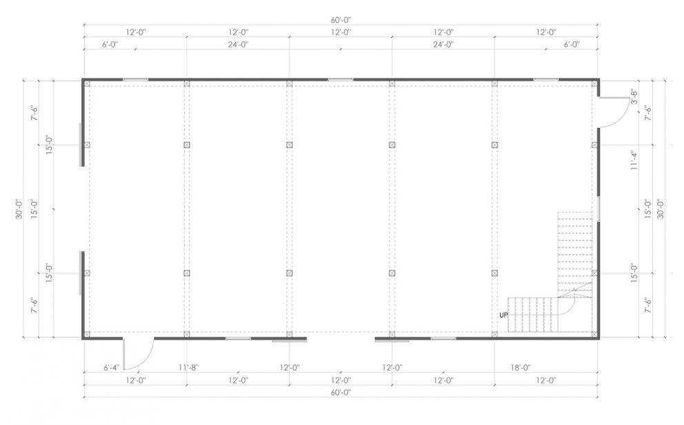Barn package timber frame post layout 30x60 ponderosa country barn
