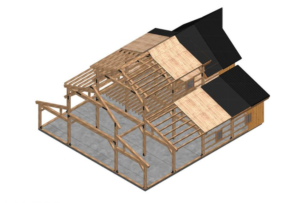 Barn package timber frame 3 D rendering 44x48 topview great plains western horse barn