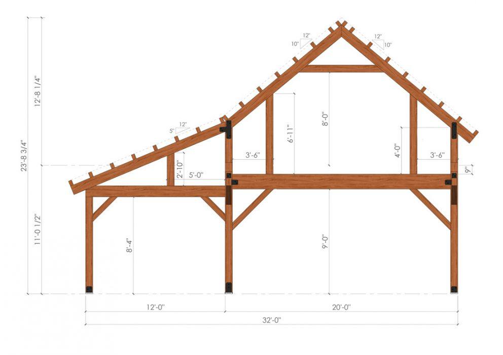 Barn package timber frame bent design 32x48 ponderosa country barn