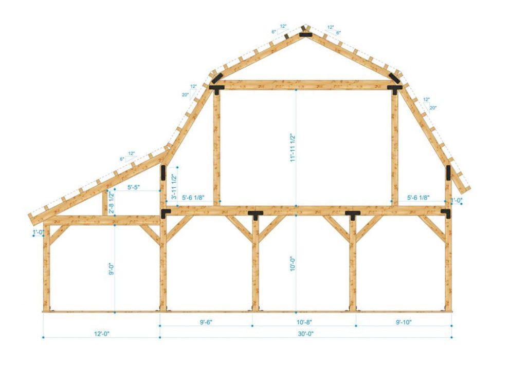 Barn package timber frame bent design 42x48 great plains gambrel barn