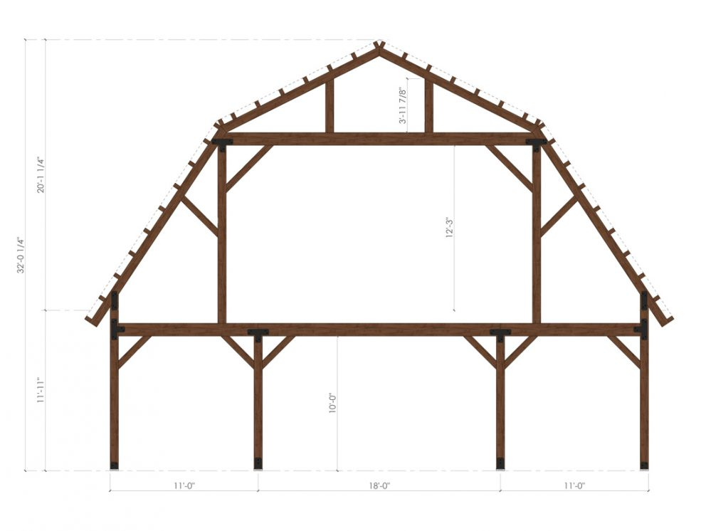Barn package timber frame bent design 40x60 great plains gambrel barn
