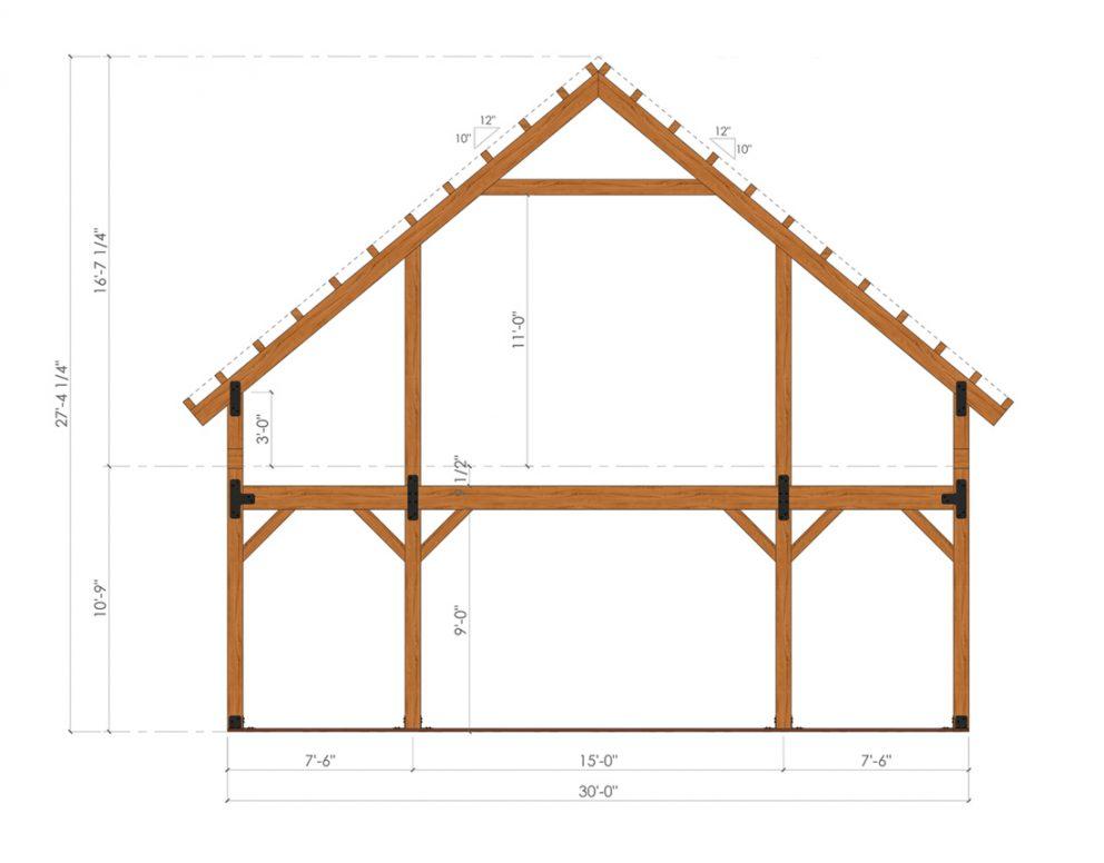 Barn package timber frame bent design 30x60 ponderosa country barn
